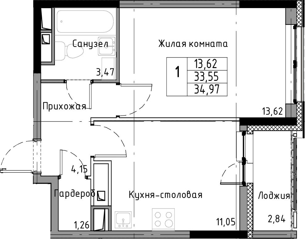 1-к.кв, 36.39 м²