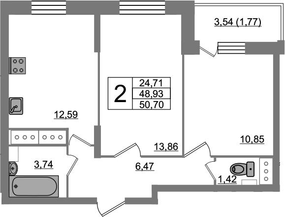 2-комнатная 52 м<sup>2</sup> на 22 этаже