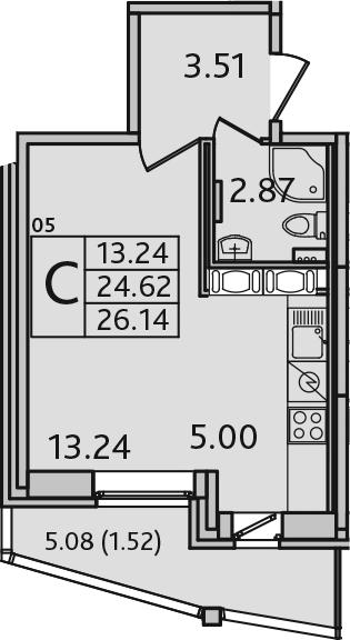 Студия 29 м<sup>2</sup> на 10 этаже