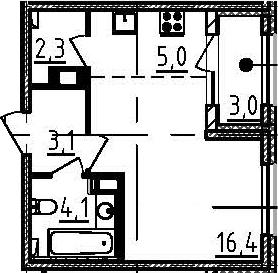 Студия 33 м<sup>2</sup> на 8 этаже