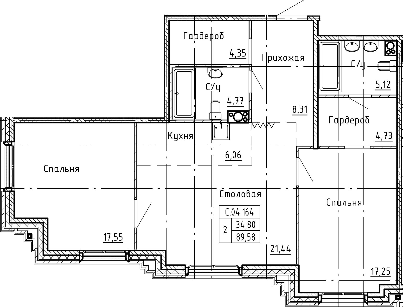 3-комнатная 89 м<sup>2</sup> на 4 этаже