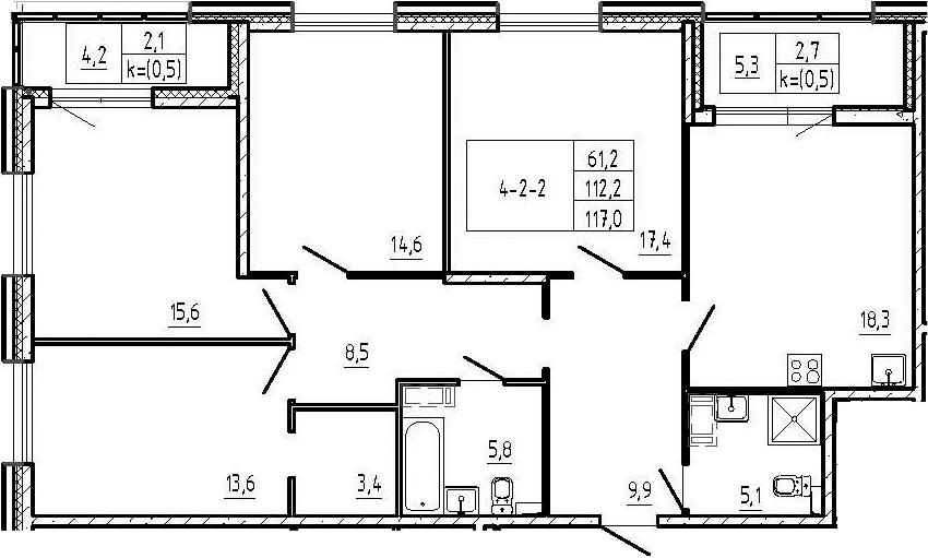 4-комнатная 121 м<sup>2</sup> на 2 этаже