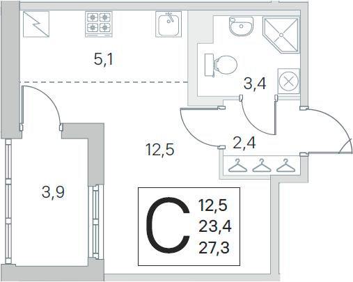Студия 31 м<sup>2</sup> на 1 этаже