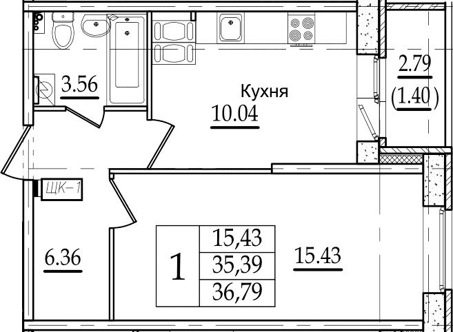 1-комнатная 38 м<sup>2</sup> на 12 этаже