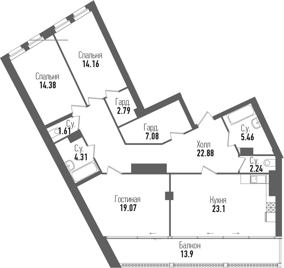 4-комнатная 130 м<sup>2</sup> на 7 этаже