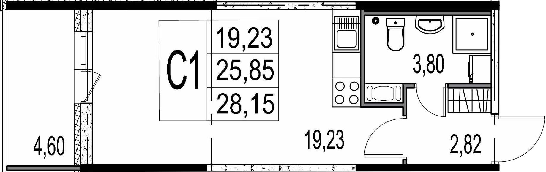 Студия 30 м<sup>2</sup> на 9 этаже