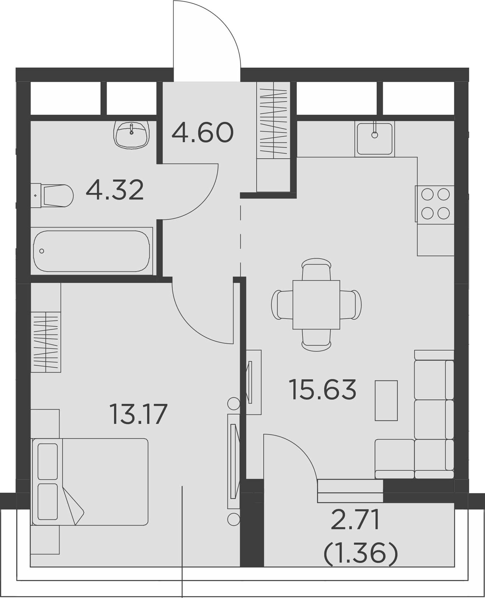 1-к.кв, 40.44 м²