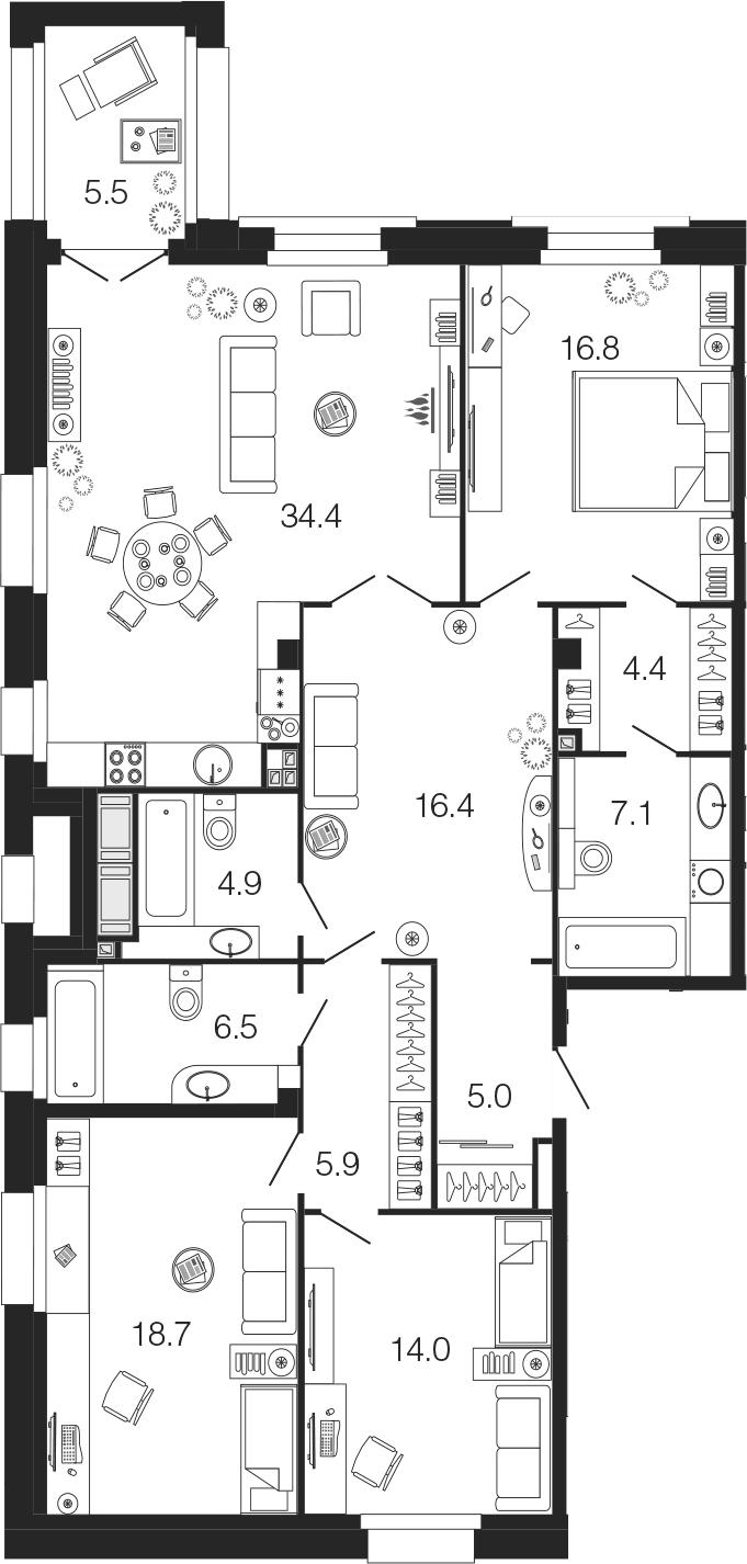 4-комнатная 139 м<sup>2</sup> на 2 этаже