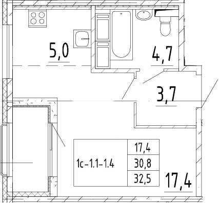 Студия 34 м<sup>2</sup> на 9 этаже