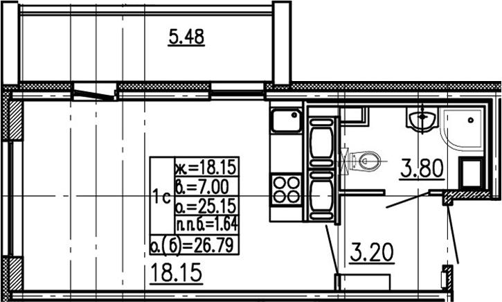 Студия 30 м<sup>2</sup> на 16 этаже