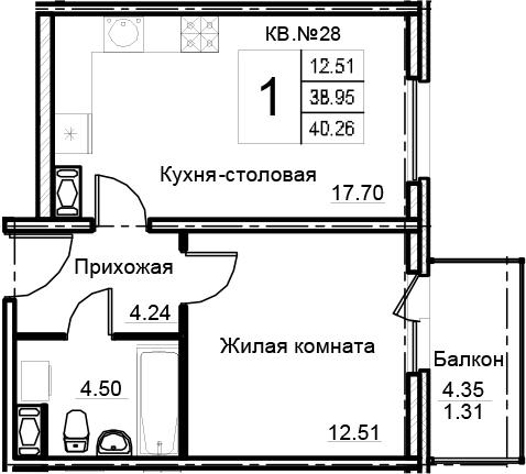 2-комнатная 43 м<sup>2</sup> на 12 этаже