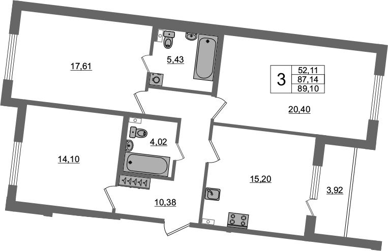 3-комнатная 87 м<sup>2</sup> на 1 этаже