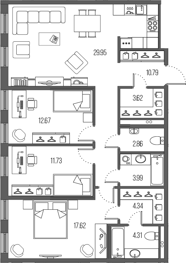 4-комнатная 101 м<sup>2</sup> на 2 этаже