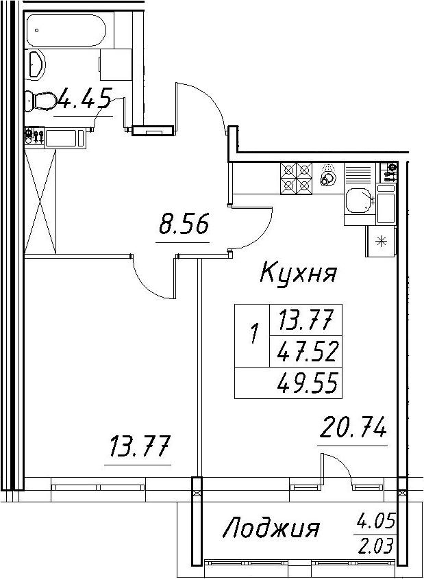 2-комнатная 51 м<sup>2</sup> на 8 этаже