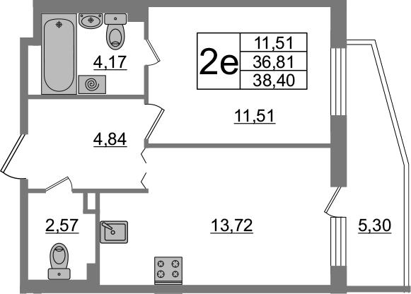 2-комнатная 42 м<sup>2</sup> на 1 этаже