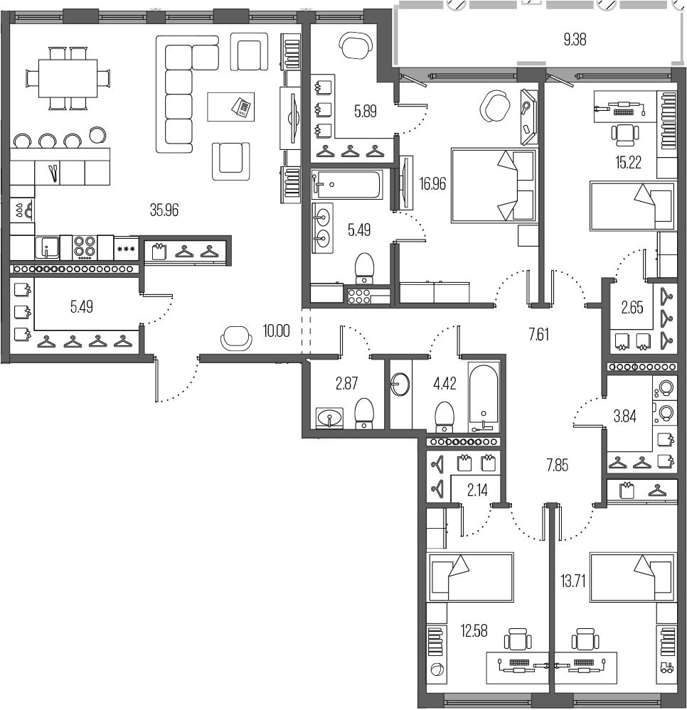 4-комнатная 162 м<sup>2</sup> на 4 этаже