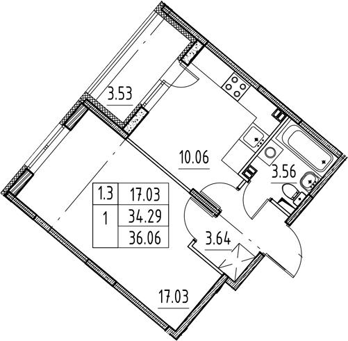 1-комнатная 37 м<sup>2</sup> на 3 этаже