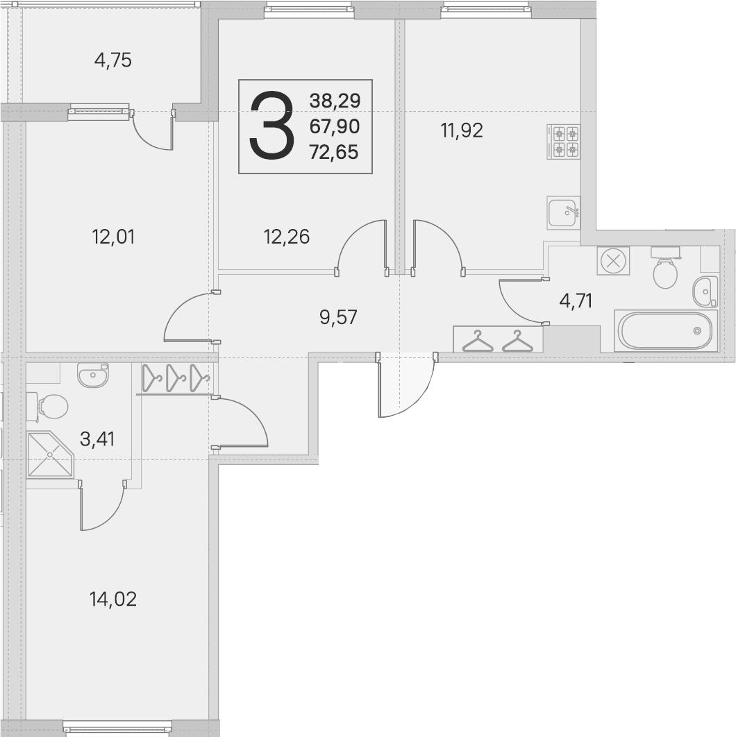3-комнатная 72 м<sup>2</sup> на 1 этаже