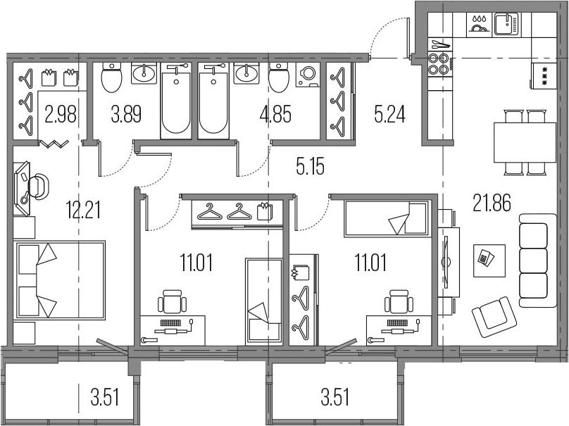 4-к.кв (евро), 85.22 м²