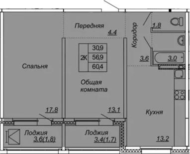 2-комнатная 63 м<sup>2</sup> на 11 этаже