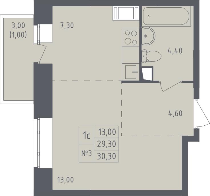Студия, 32.63 м²