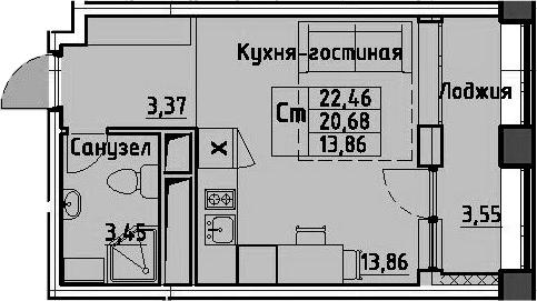 Студия, 24.23 м²