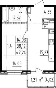 2-комнатная 42 м<sup>2</sup> на 9 этаже