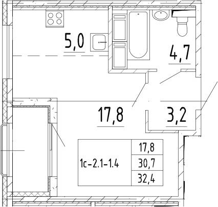 Студия 34 м<sup>2</sup> на 11 этаже