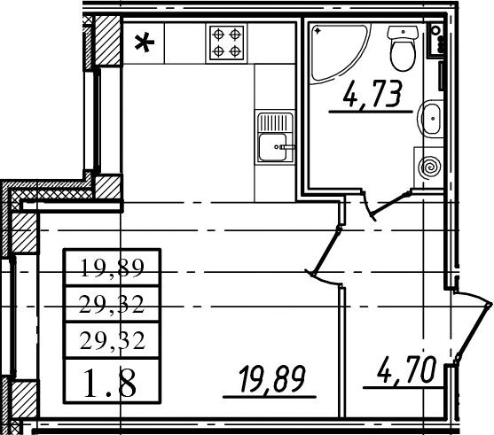 Студия, 29.32 м²