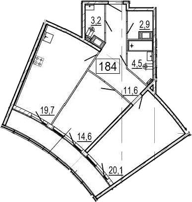 3-комнатная 87 м<sup>2</sup> на 10 этаже