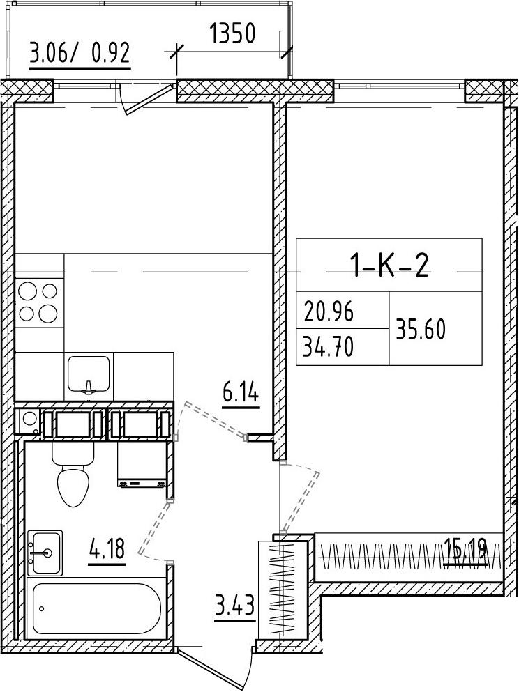 1-к.кв, 37.79 м²