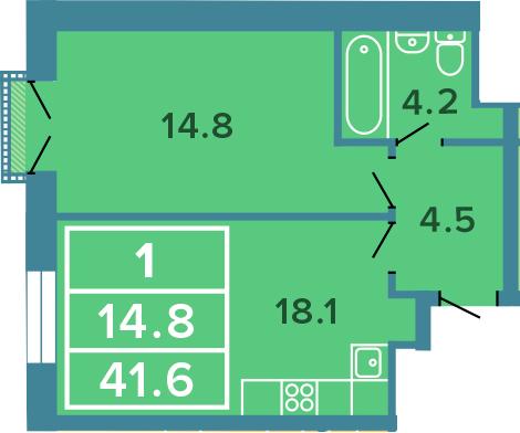 2-к.кв (евро), 41.6 м²