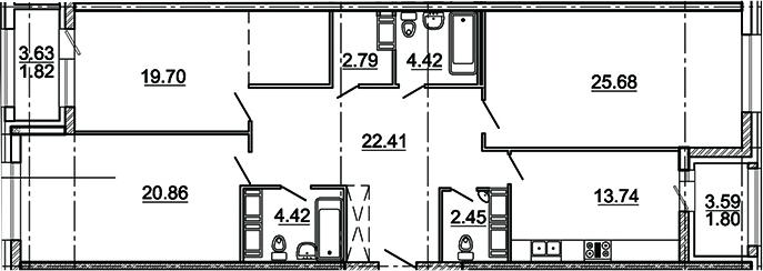 3-комнатная 123 м<sup>2</sup> на 5 этаже