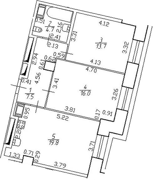 3-комнатная 61 м<sup>2</sup> на 4 этаже