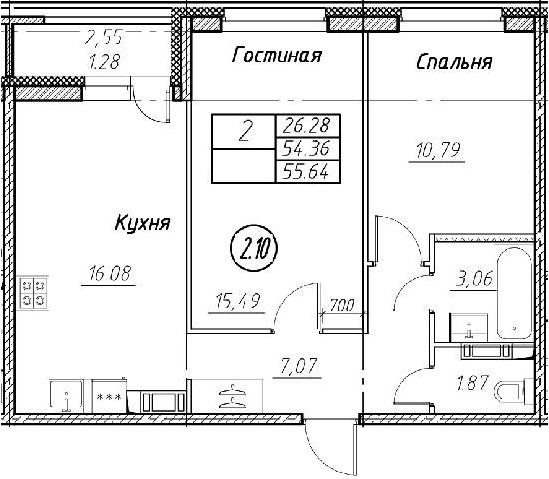 3-комнатная 56 м<sup>2</sup> на 2 этаже