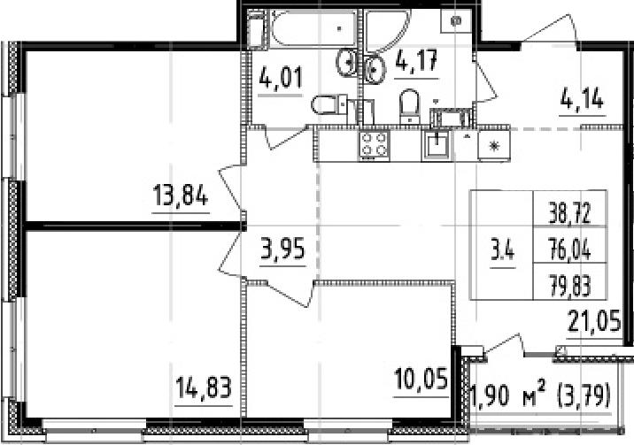 4-комнатная 79 м<sup>2</sup> на 4 этаже