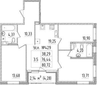 4-комнатная 80 м<sup>2</sup> на 3 этаже