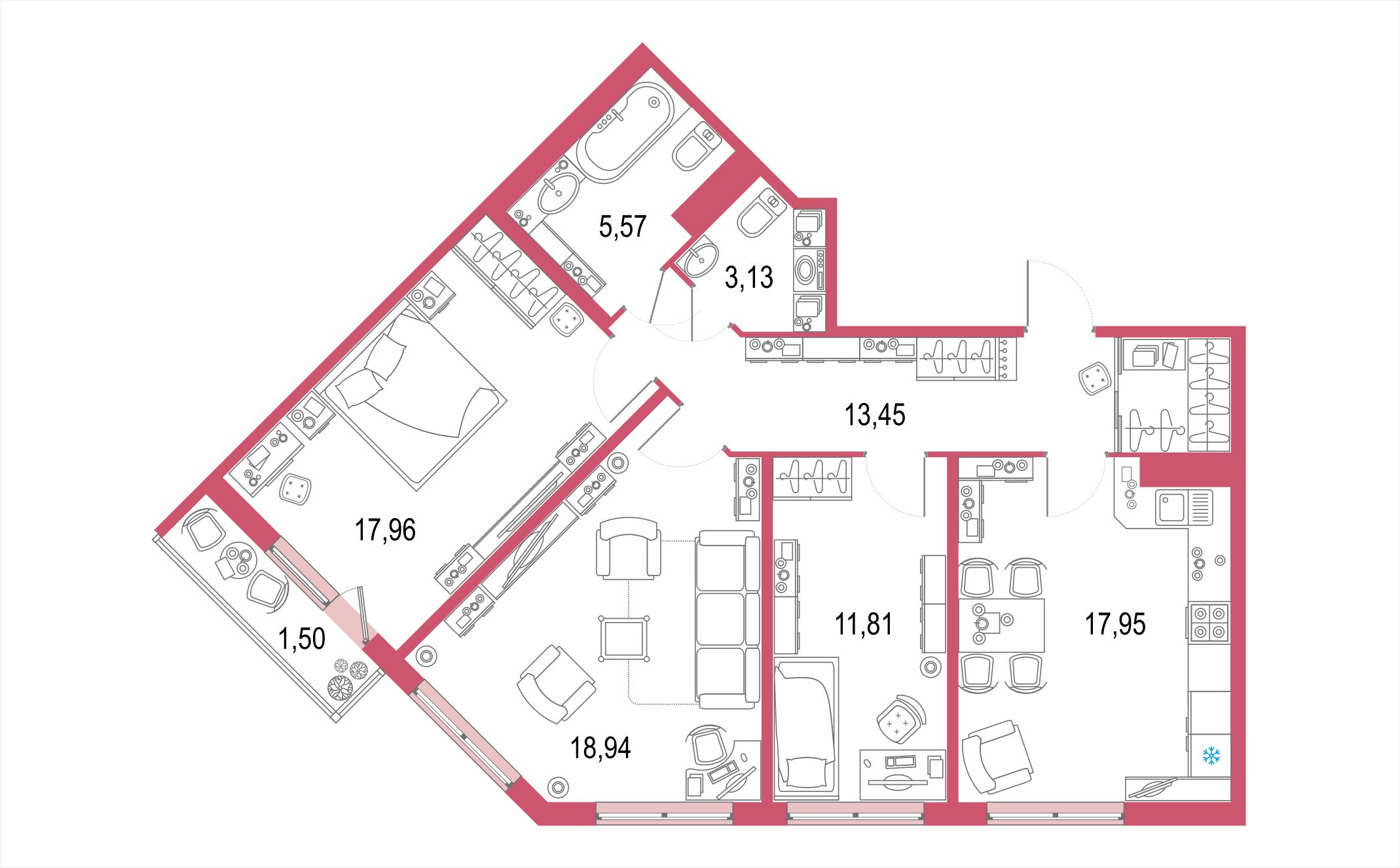 4-комнатная 91 м<sup>2</sup> на 5 этаже