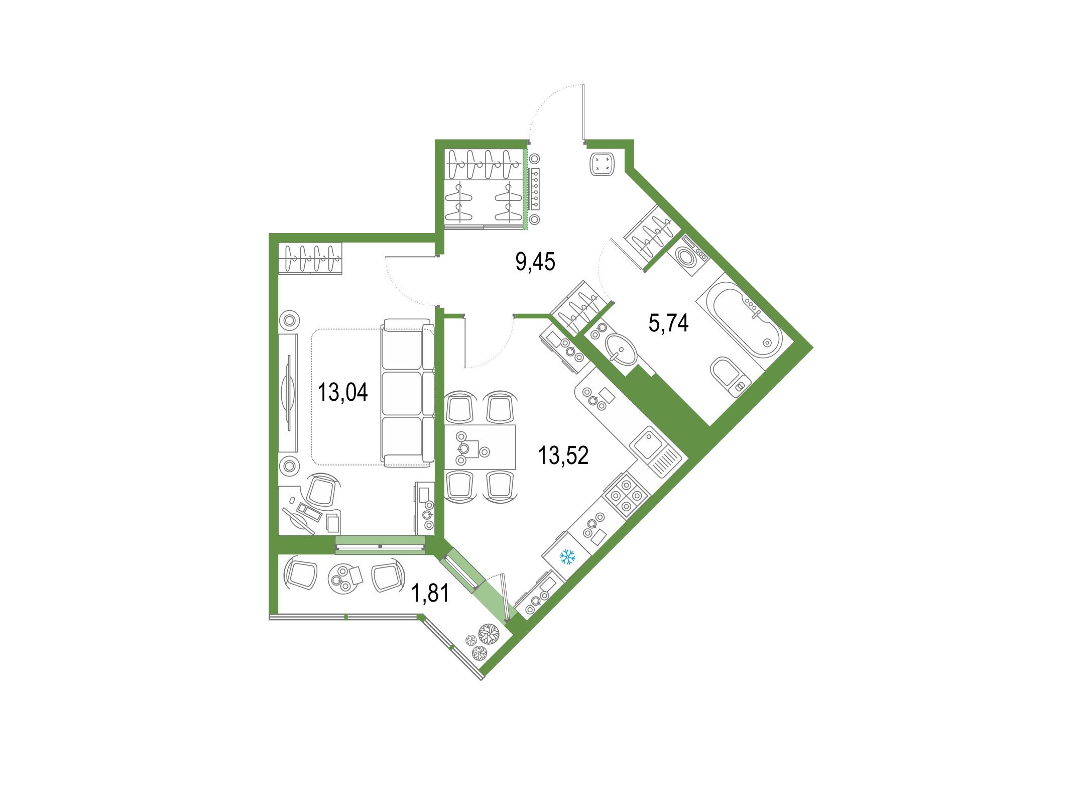 1-комнатная 45 м<sup>2</sup> на 20 этаже