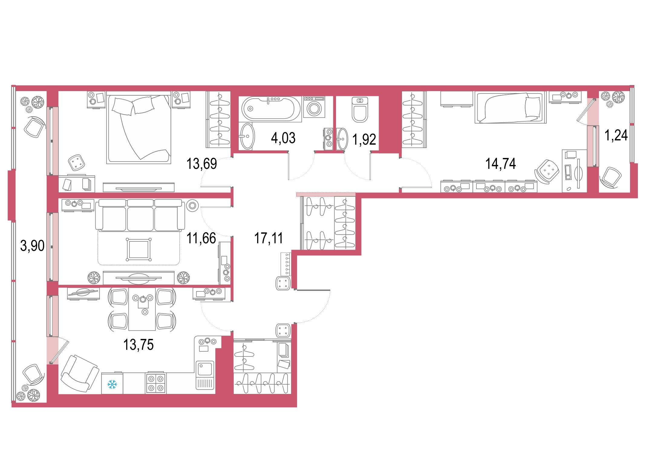 3-комнатная 87 м<sup>2</sup> на 22 этаже