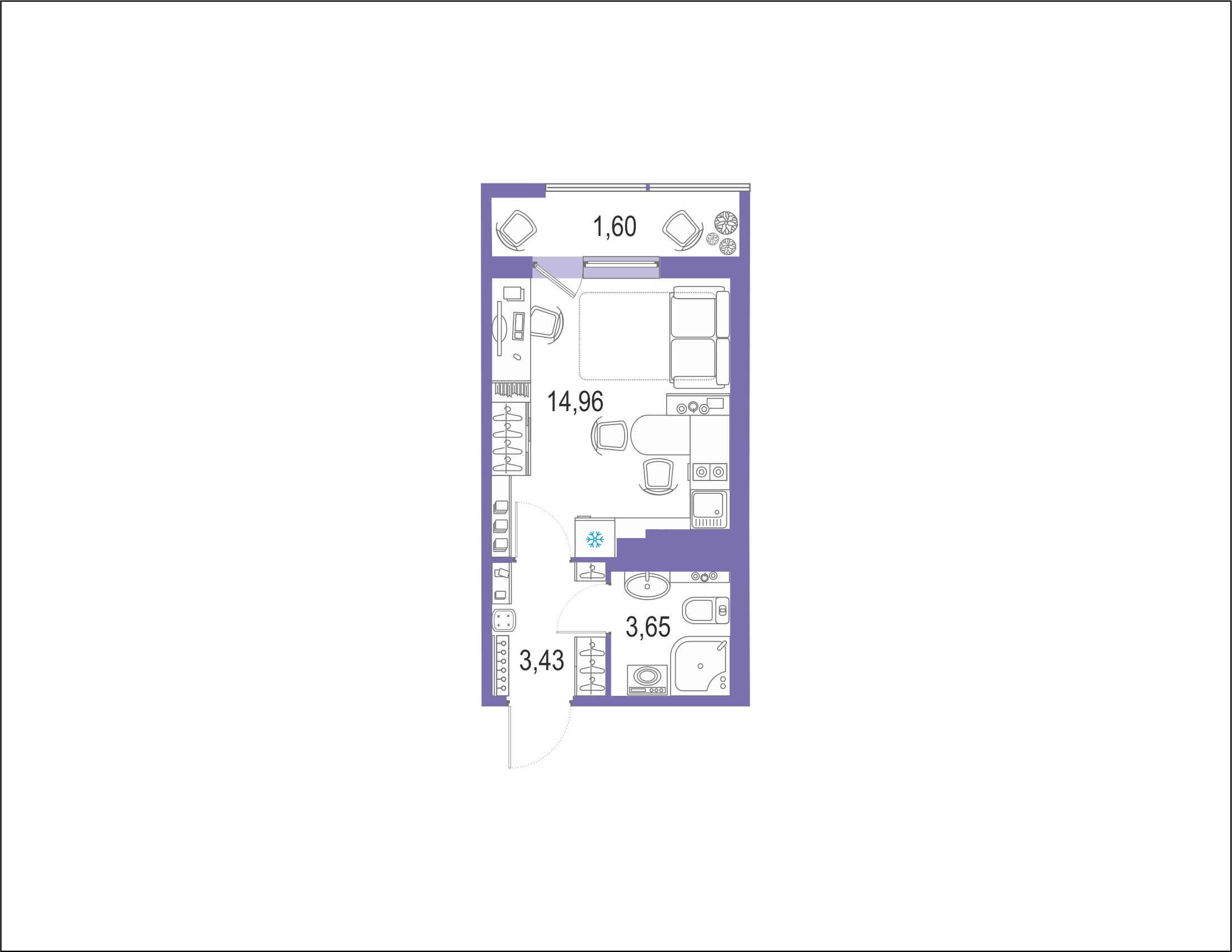 Студия 25 м<sup>2</sup> на 21 этаже
