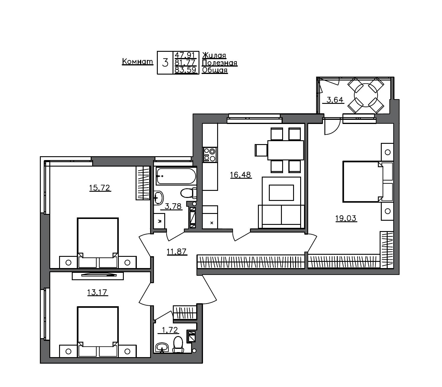 4-комнатная 85 м<sup>2</sup> на 3 этаже