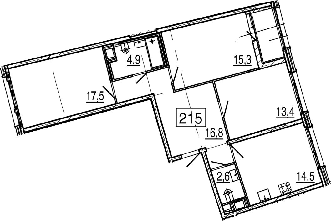 3-комнатная 88 м<sup>2</sup> на 6 этаже