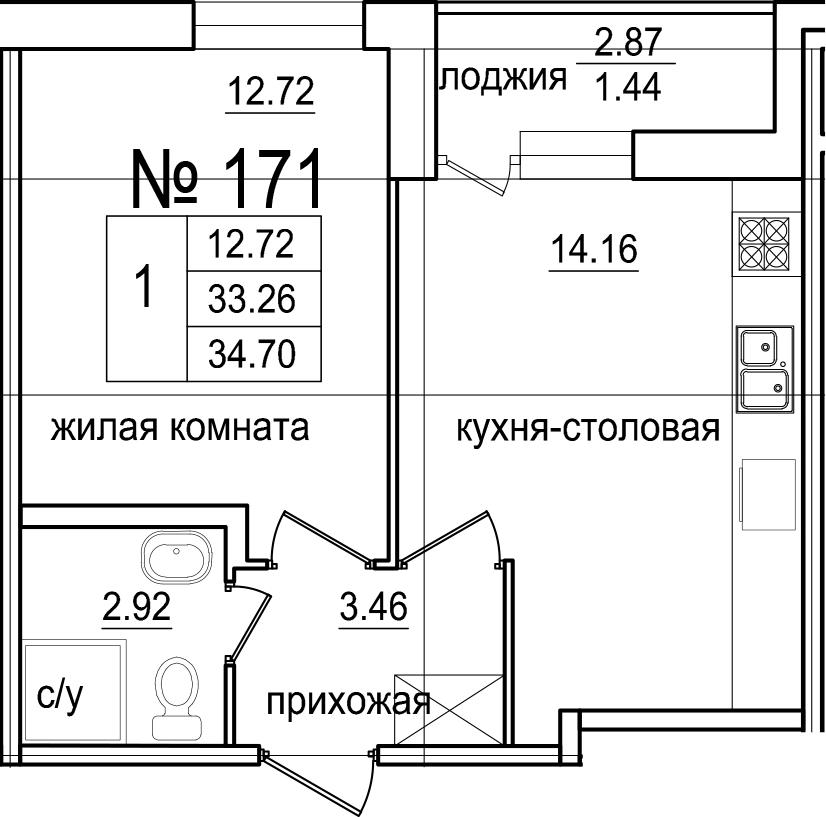 1-к.кв, 36.14 м²