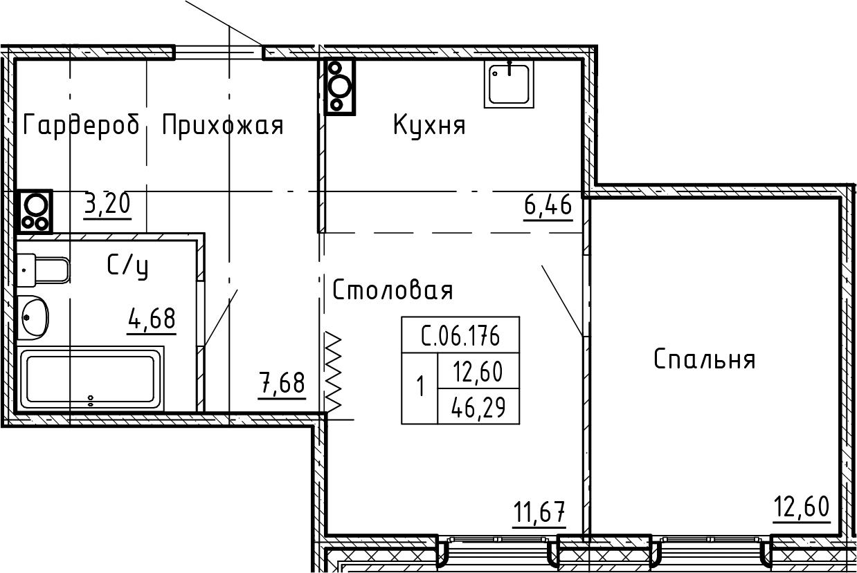 1-комнатная 46 м<sup>2</sup> на 6 этаже