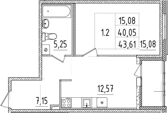 1-комнатная 43 м<sup>2</sup> на 1 этаже