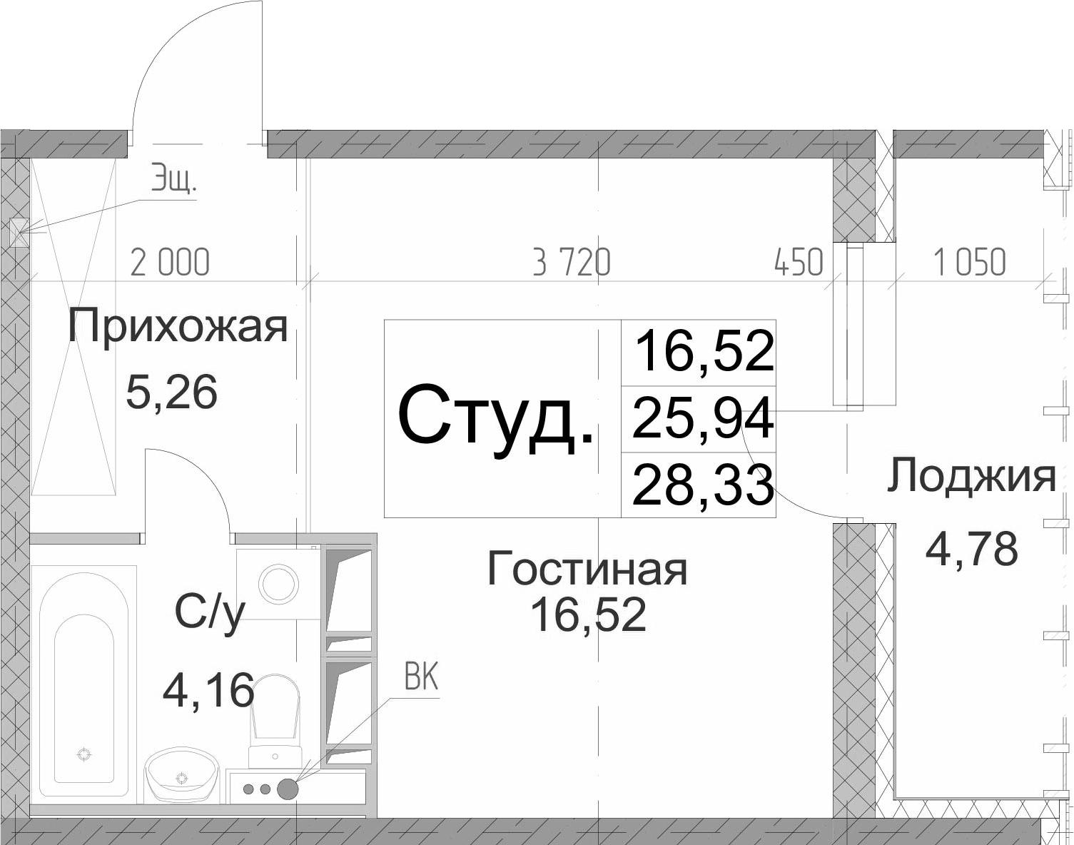 Студия 30 м<sup>2</sup> на 7 этаже