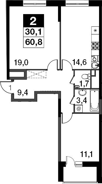 2-к.кв, 62.4 м²