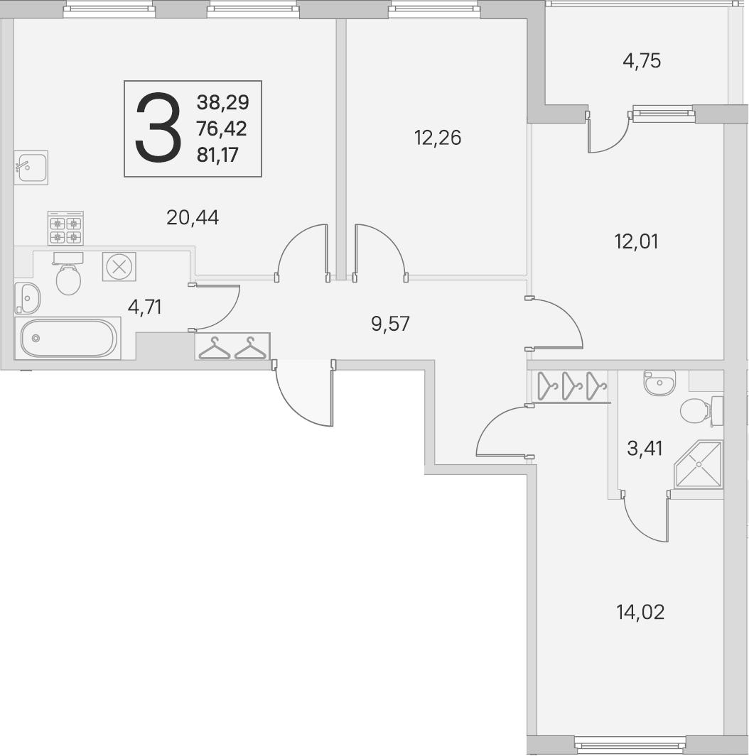 4-комнатная 81 м<sup>2</sup> на 1 этаже