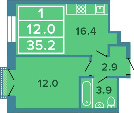 2-к.кв (евро), 35.2 м²